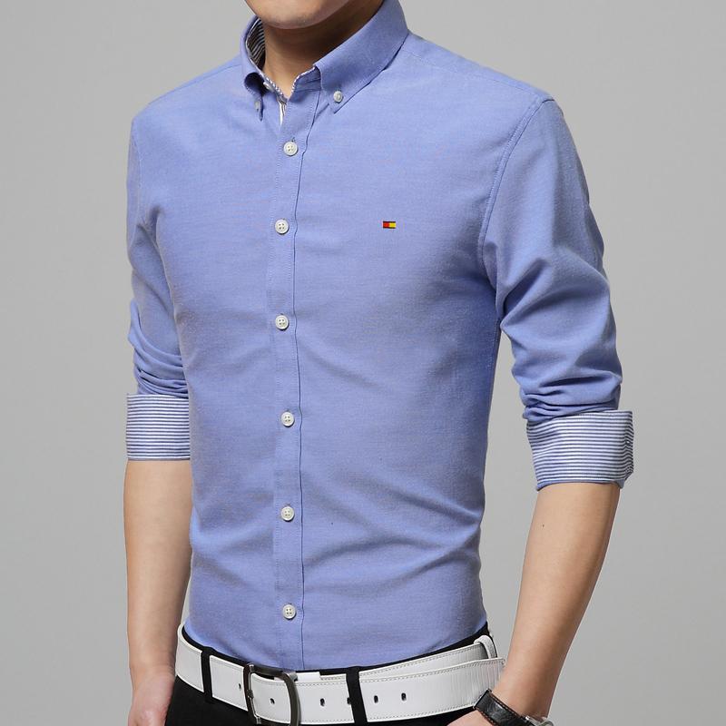 2015 New Men's business casual solid oxford shirt comfort easy-care fabrics lapel long-sleeved dress shirt men shirt Plus Size(China (Mainland))
