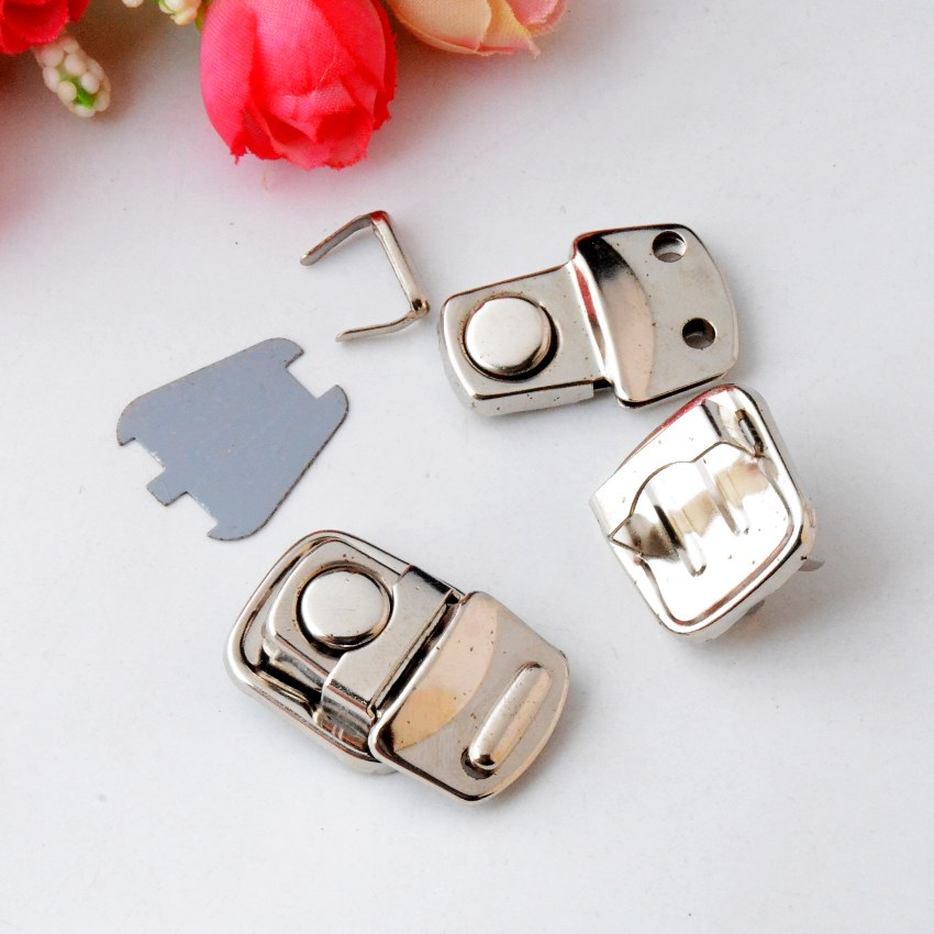 Free Shipping 10 Sets Metal Hook Box Latches Clasp Bag Box Lock Purse Lock Silver Tone 32x20mm J2825(China (Mainland))