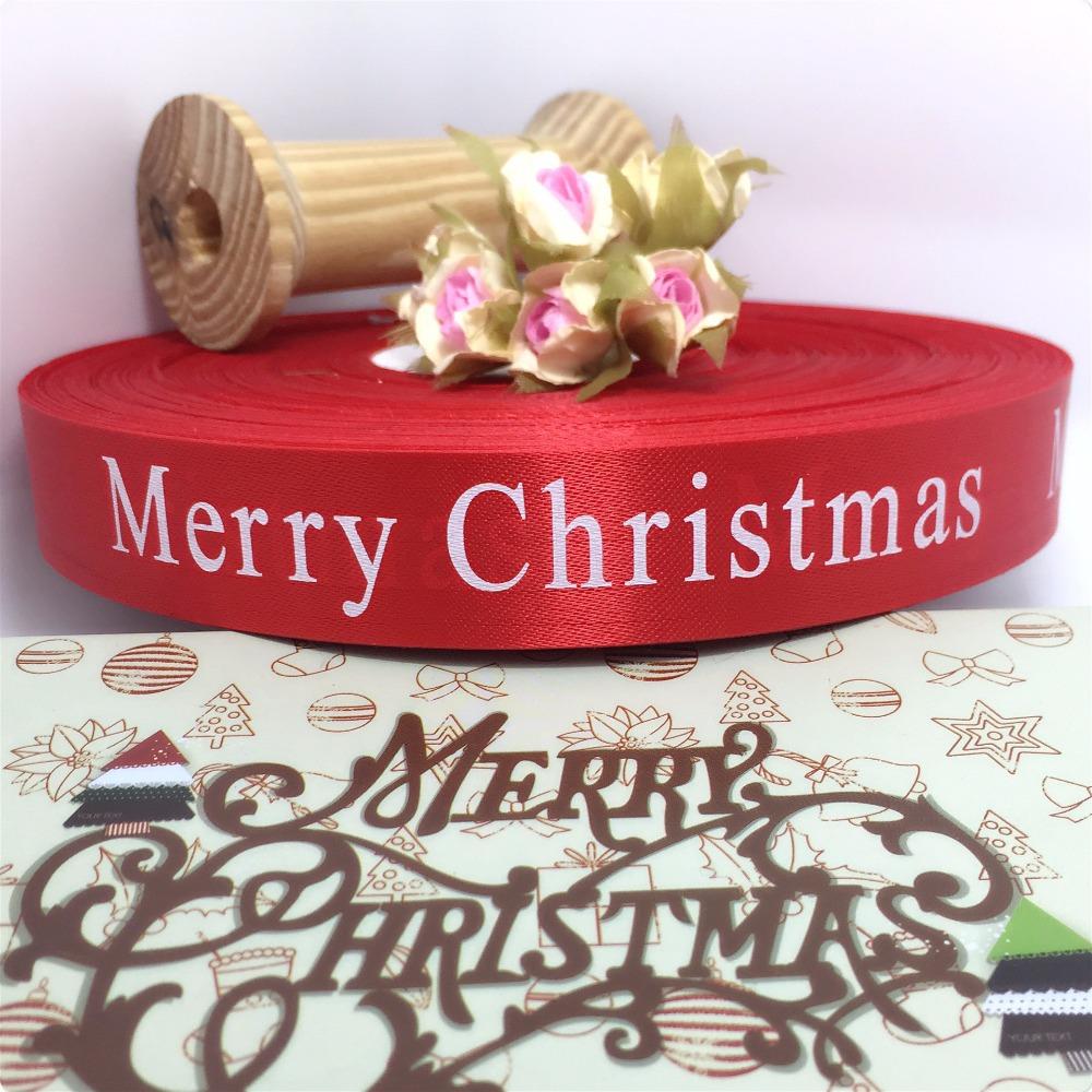 "1"" 25mm 200yard/rolls Merry Christmas ribbon single face printed brimless satin ribbon white solid color(China (Mainland))"
