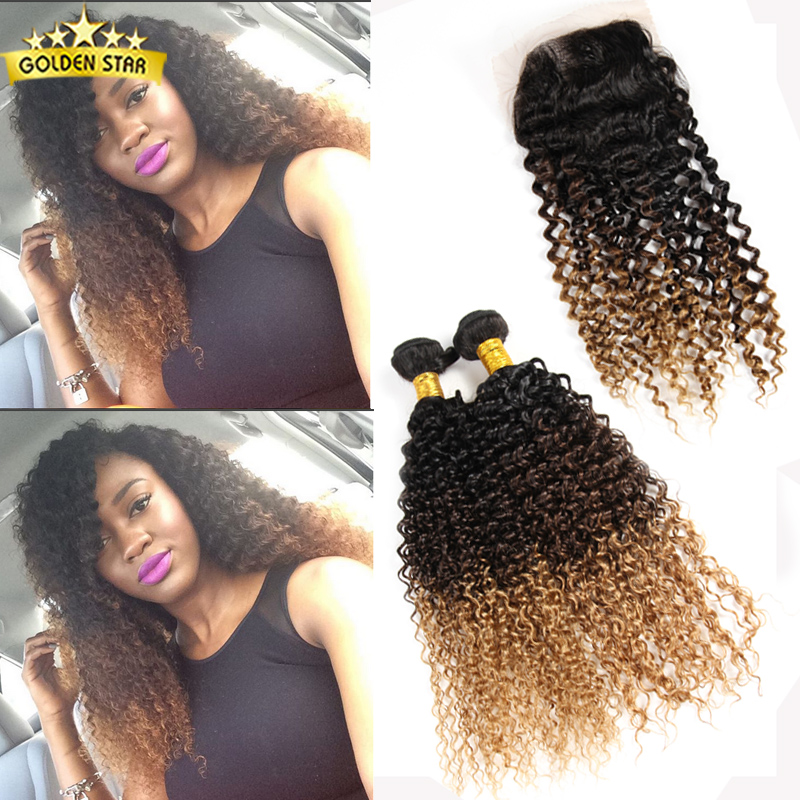 Brazillian Kinky Curly 4 Bundles With Closure Ombre Brazilian Hair Weave Bundles Lace Closures Ombre Wet And Wavy Human Hair