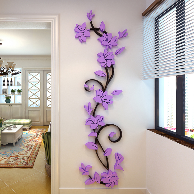 2016 hot sale 3d acrylic rose flower wall stickers home for Home decorations on sale