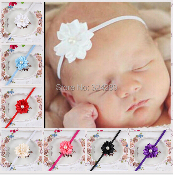 """Hair accessories retail infant Baby Girl Kids 1.6"""" multi angle ribbon flower with pearl center baby headband skinny hair band(China (Mainland))"""