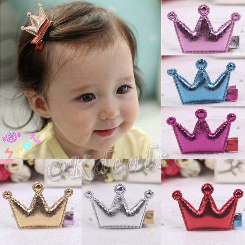 6 Colors Kids Girls Leather Xmas Dancing Party Hair Clips Crown Princess Barrette Ribbon Hair styling(China (Mainland))