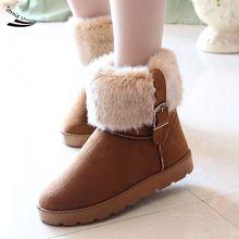 2016 Nuevos Cargadores Calientes Del Tobillo Corto Zapatos de Las Señoras de la Nieve Para Las Mujeres Del Invierno Espesan Más Tamaño Artificial 34(China (Mainland))