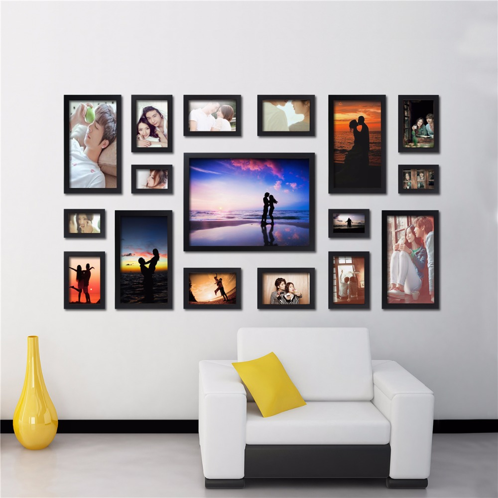 Fashion style black wood photo frame art home decor frame set creative combination wall photo - Home decorated set ...
