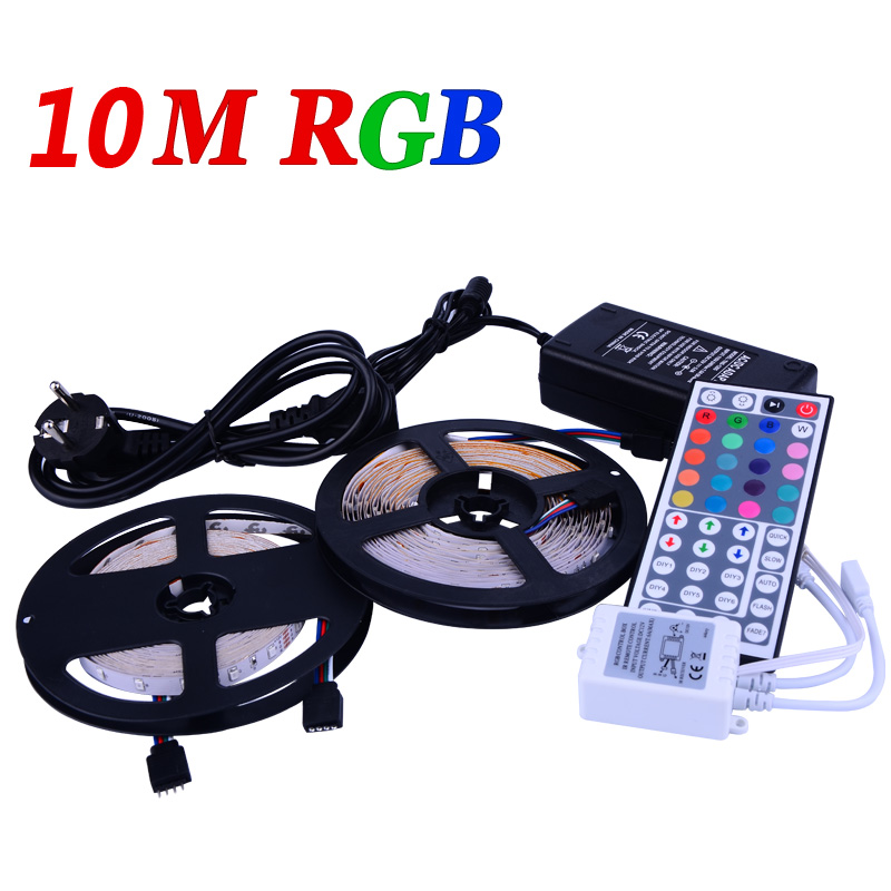 10m RGB led strip 3528 flexible strip light 60leds/m SMD 600leds+44 Key IR remote controller+DC 12V 5A power adapter LS33(China (Mainland))