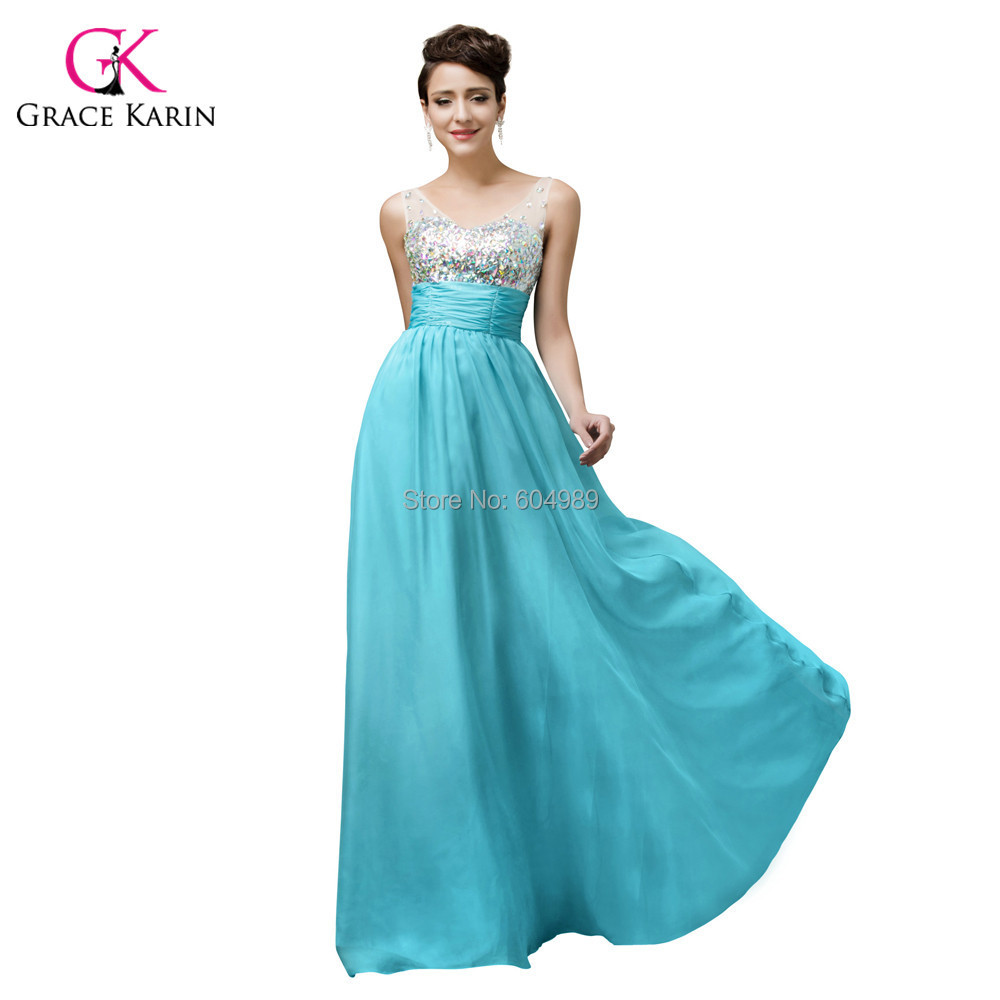 2016 Grace Karin Sexy Backless Evening Dresses Blue V-Neck Crystal women long White Formal Dress elegant Party Prom Gowns 7506(Hong Kong)