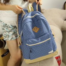 2015 new design canvas lace dots printing fashionable women backpack college student school book bag leisure