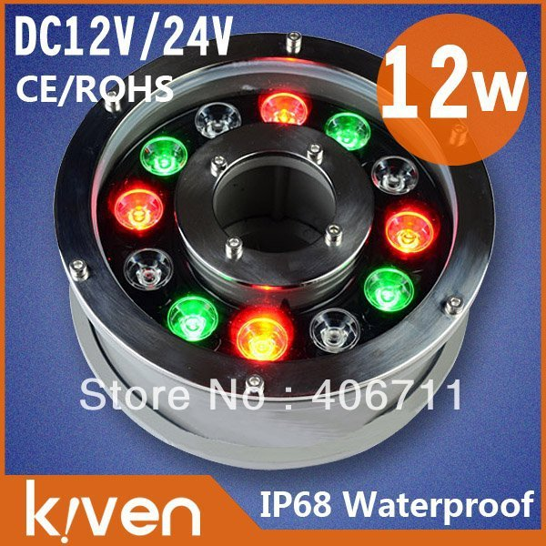 Wholesale ! 2pcs/lot, High quality underwater lamp IP68 DC12V/24VCE&RoHS colorful shine!outdoor decoration!free shipping
