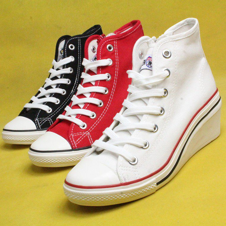 Women fashionable casual canvas shoes high-top wedges comfortable women's trend popular height increasing Sneakers - Led Shoes store