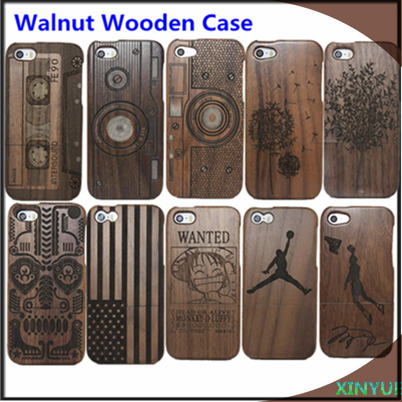 screen flim +A++++ 100% real Walnut Wood Wooden Case Cover iphone 5 5s wooden bamboo case retail package - ShenZhen TOP ONE Mariah Technology co., LTD store
