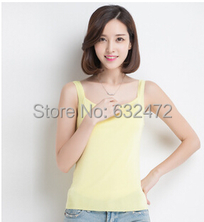 Women's Crop Tops 2015 spring-summer new candy-colored silk sleeveless Slim camisole bottoming shirts Tees Tanks Camis - Coco International Trade Store store