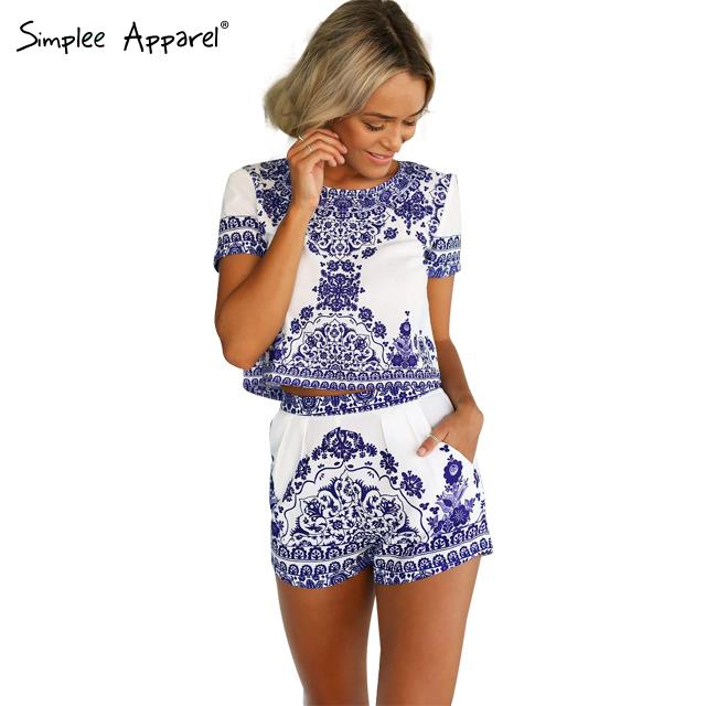 Гаджет  Simplee Apparel 2015 blue and white porcelain print jumpsuit Two piece elegant women playsuit Vintage casual style party rompers None Одежда и аксессуары