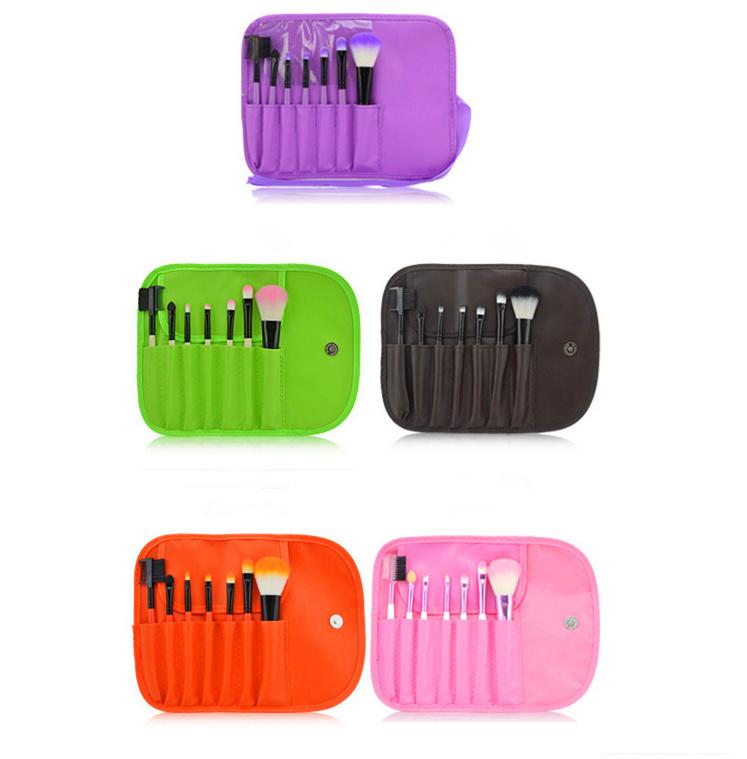 2015 Hot Sale 7pcs/set Makeup Brushes Professional Soft Cosmetic Makeup Brush Set Blush Brush + 1 x Pouch Bag Case(China (Mainland))