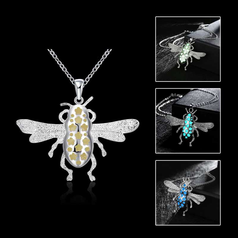 Plated Luminous Flower Bee Necklace Fluorescent Stone Hollow Locket Cage For Women Night Light(China (Mainland))