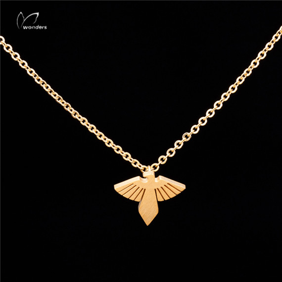 30pcs/lot 2015 Metalwork Modern Wedding Gift Jewelry Gold Silver Stainless Steel Spread Wing Eagles Necklace<br><br>Aliexpress