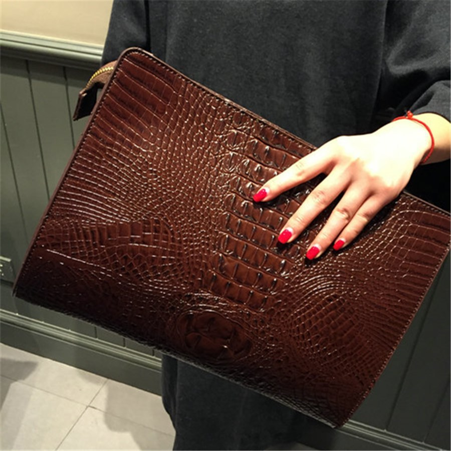 2015 the new Europe and the United States big women crocodile grain character retro envelope one shoulder his hand bag<br><br>Aliexpress