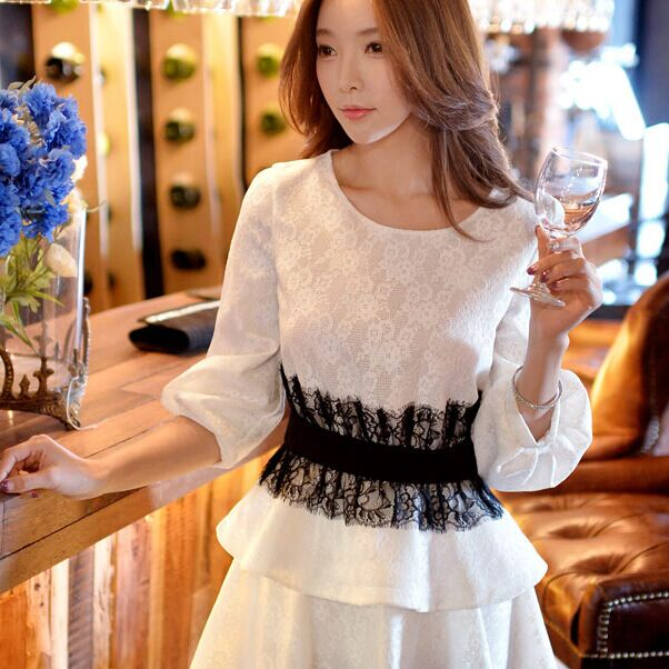 Original New 2016 Brand Blouse Spring Plus Size Black Slim Waisted Vintage Elegant Ruffled White Pullover Lace Top WholesaleОдежда и ак�е��уары<br><br><br>Aliexpress