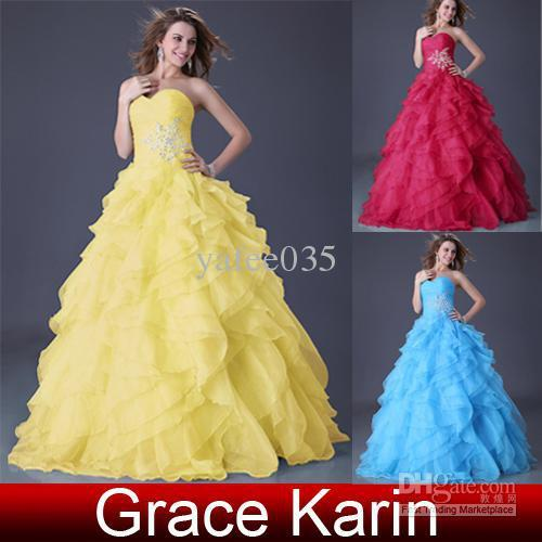 Wholesale - Charming ruffle cascades Appliques Sweetheart Ball Gown  Prom Dresses