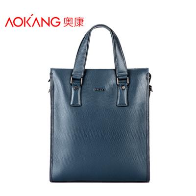 AoKang Man Leather Briefcase Long Blue Leather Male Bookbag Messenger Bag For Men Notebook Bag Bolsas De Coura Free Shipping(China (Mainland))