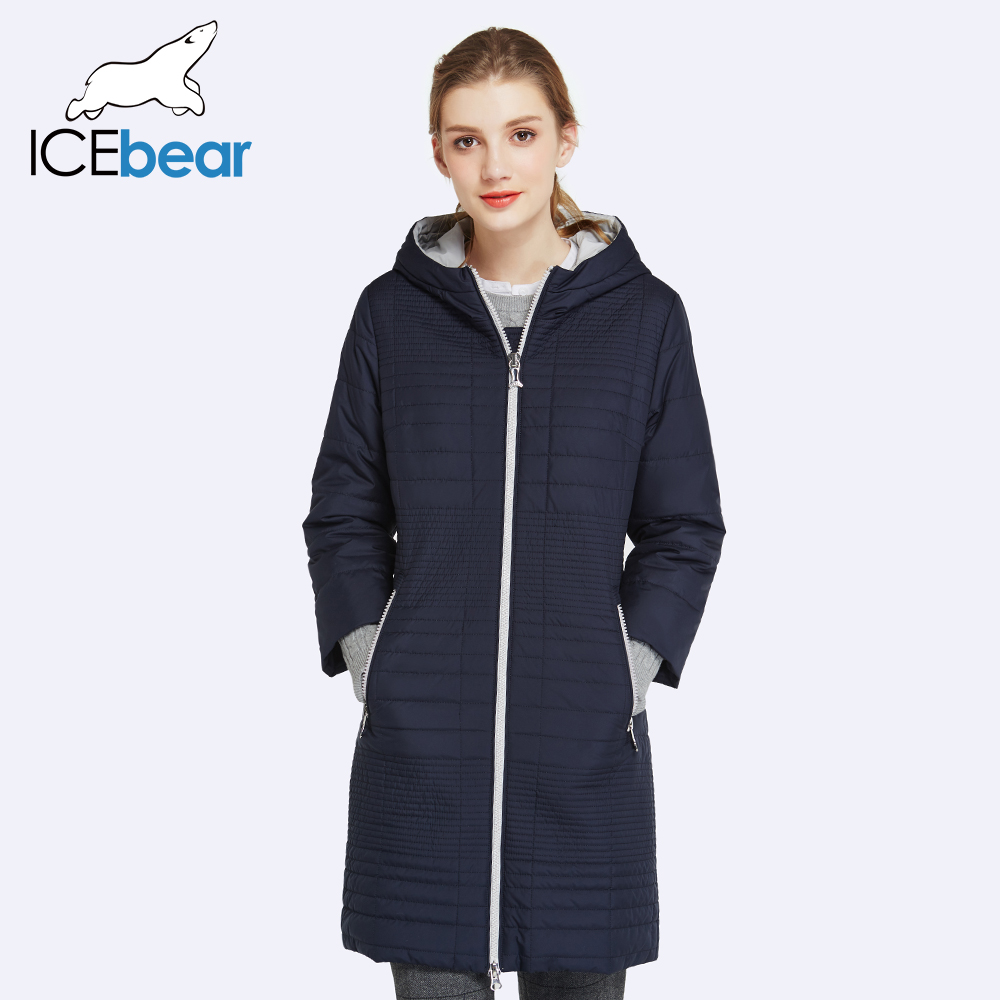 ICEbear 2017 Spring Autumn Long Cotton Women's Coats With Hood Fashion Ladies Padded Jacket Parkas For Women 17G292D(China (Mainland))