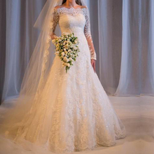 Buy Vestido de noiva renda 2017 Elegant White Long Sleeve A-Line Lace Wedding dress Boat Neck Princess Wedding Gown Robe de mariage for $184.80 in AliExpress store