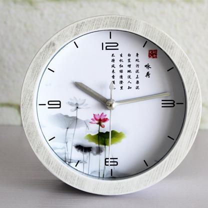 5'' Lotus Quiet Time Chinese Letters Wood Pattern Silent Non-ticking Quartz Alarm Clocks Round Desk Clocks 3D Clock(China (Mainland))