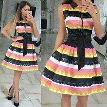 2016 Patchwork Vintage Elegant Cute Casual A-Line  New Hot Sale  Fashion Women Dress knee length Dresses(China (Mainland))