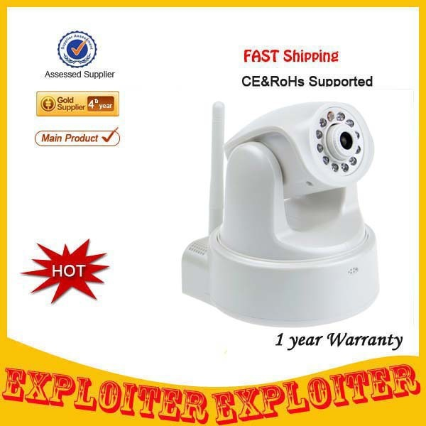 Security Wifi 300KP WiFi Network IP Camera w/ 11-LED Night Vision/Microphone - White,Free Shipping