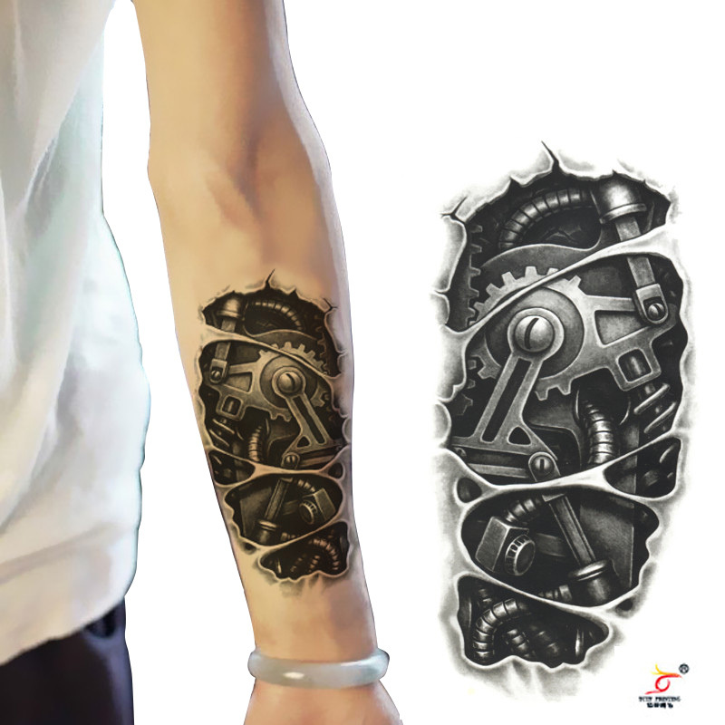 temporary tattoos 3d black mechanical arm fake transfer tattoo stickers hot sexy cool men spray. Black Bedroom Furniture Sets. Home Design Ideas