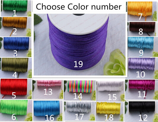 2mm Diameter Bracelet Multicolor Nylon Cord Chinese Knotting Beads Bracelet Ropes 100 yard/lot Choose the Color number(China (Mainland))