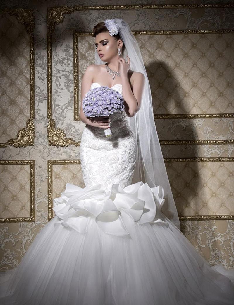 Wedding Dresses Mermaid Ruffles : Luxury bead wedding dresses mermaid sweetheart lace appliques ruffles