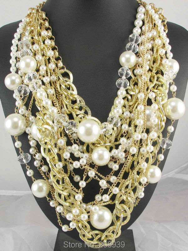Newest Handmade Fashion Bohemia Simulated Pearl Crystal Beads Gold Chain Pendants Bib Statement Women Choker Necklaces Q1007(China (Mainland))