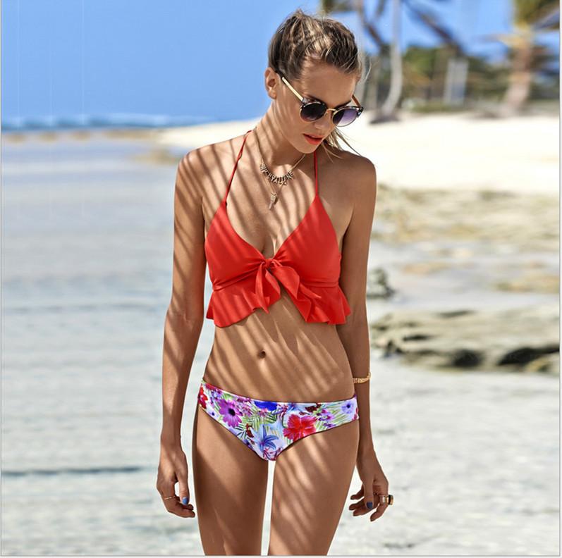 2016 NEW bright conservatism orange bikini set for sexy women halter print floral swimsuit ruffle swimwear Bathing Suit monokini(China (Mainland))