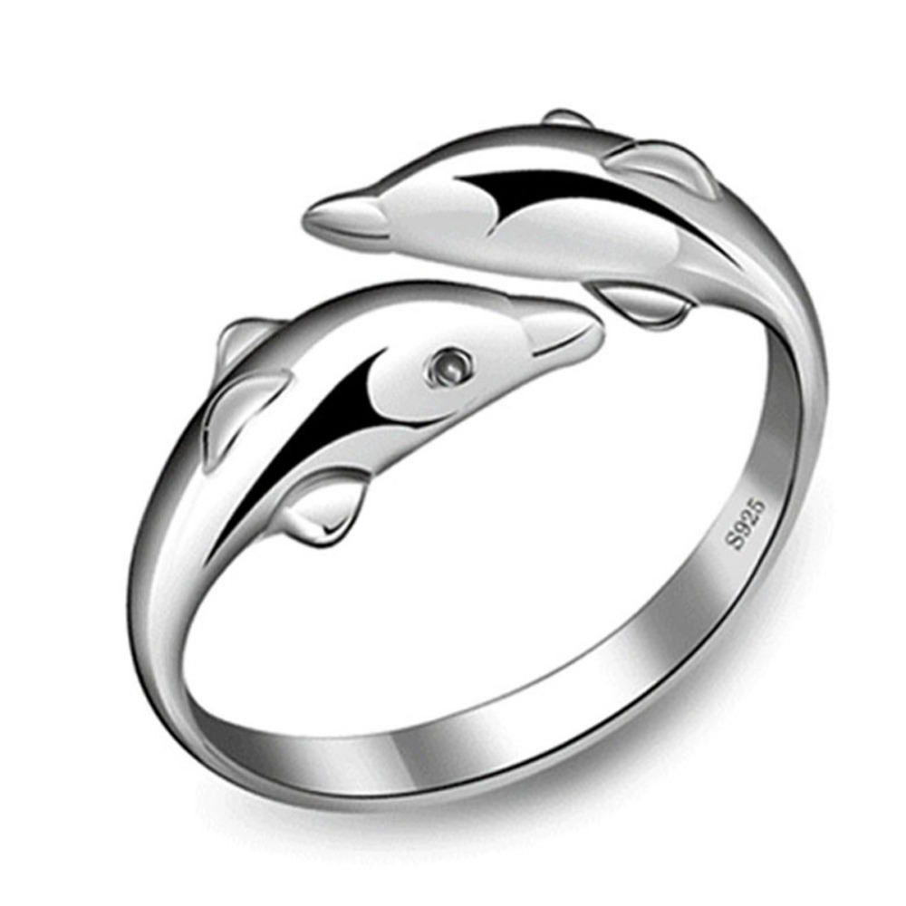 fashion Silver Plated Double Dolphin Ring Opening Adjustable Silver Plated Rings for girl Charm Jewe