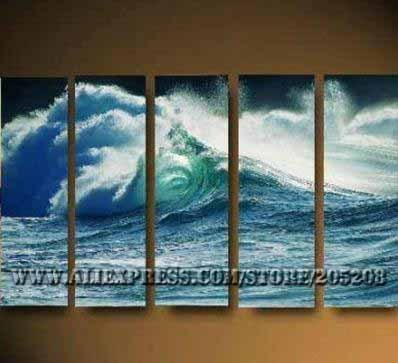 Framed 5 Panels Huge 5 Panels Wall Art Sea Modern Oil Painting on Canvas Surf XD00007