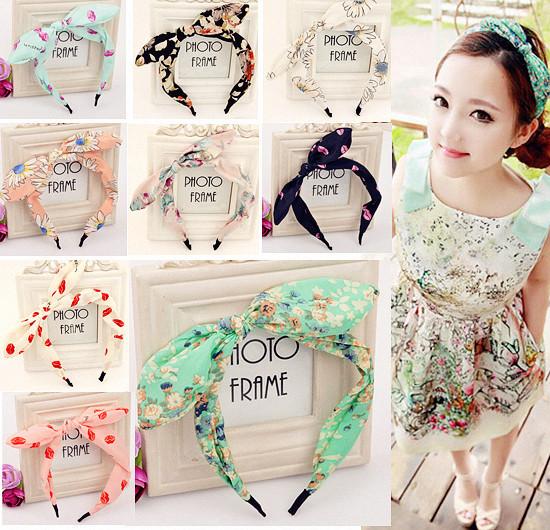 Hot Sale Cute Hair Jewelry Ribbon Rabbit Ear Hairbands Head band Barrettes Hairwear for Women Hair Accessories Summer Style(China (Mainland))