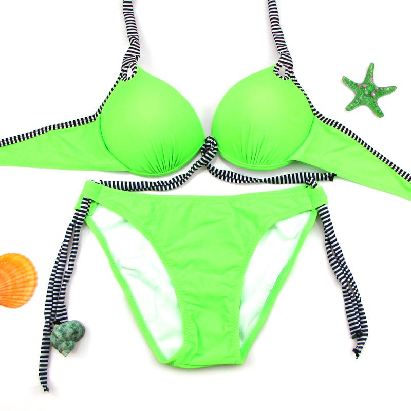 Brazilian style Bikini push up big BREAST CUP swimsuit swimwear female bikinis set pants side lacing high elastic 2016(China (Mainland))