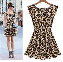 New Hot Sale Sexy Casual Women Dress Leopard Print Sleeveless Ruffles Vestidos Femininos Dresses Girl Sundress Women Clothing(China (Mainland))