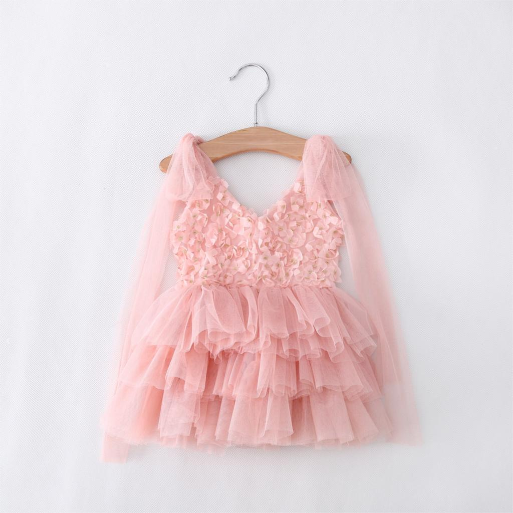 &E-babe&Wholesale toddler's Little Girl's Lace sequined dress kids Princess wedding Party Rosette tutu Dress 3 Colors 90-130(China (Mainland))