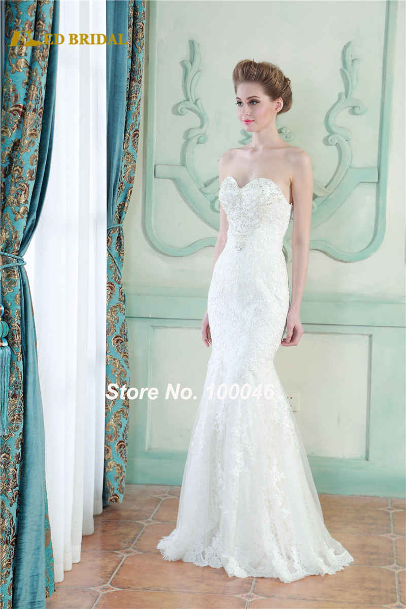 Bridal gown real photo sheath no train lace wedding dress for No lace wedding dress