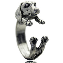 Dachshund Adjustable Animal Ring Dog Finger Wrap Jewelry Puppy Sausage For Women Gifts Vintage Jewelry Wholesale(China (Mainland))