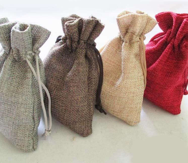 wholesale 5000pcs 17x23cm Jute Burlap drawstring Favor Bags for candles handmade soap wedding(China (Mainland))