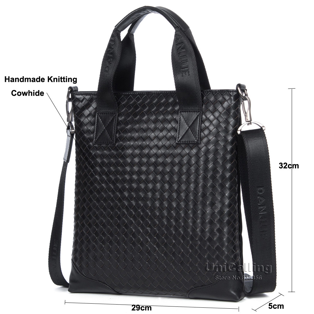 Brand luxury man bag high-end top layer of cowhide genuine leather handmade knitting fashion men crossbody handbag knitting bag