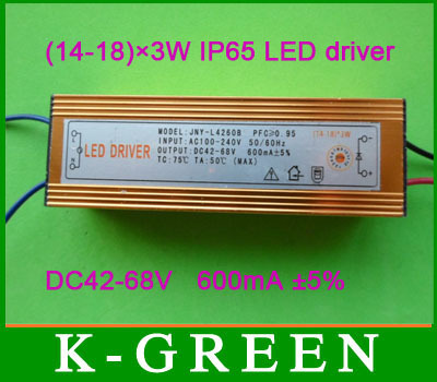 Professional manufacturer (14-18)X3W input voltage AC100-240V /output voltage DC42-68V 600mA waterproof LED driver free shipping<br><br>Aliexpress