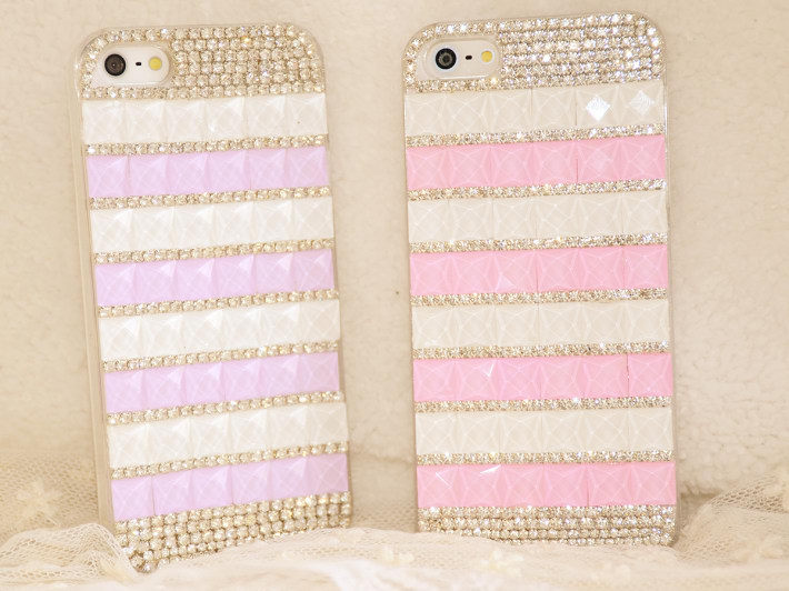 2015 new luxury white pink diamonds cell phone covers for iPhone5 5s cases diamond wholesale handmade mobile cases free shipping(China (Mainland))