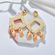 Bohemian DIY ไม้ฟางสานหวาย Drop ต่างหูหินธรรมชาติ Shell ปลาดาวต่างหูสำหรับผู้หญิง Boho ฤดูใบไม้ร่วง(China)