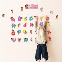 DIY Lovely Dora Art Alphabet Wall Decals Home Decor Wall Stickers For Kids  Rooms Children Cartoon