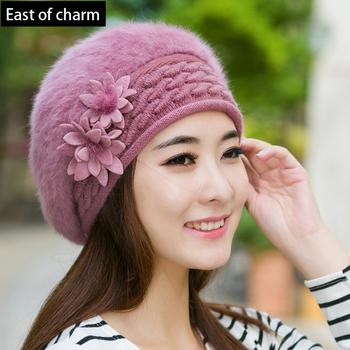 Warm Women Beret Hat Cap Winter Hat For Women Hat Skullies & Beanies High Quality Rabbit Hair Soft Cap Female Cap Drop Shipping