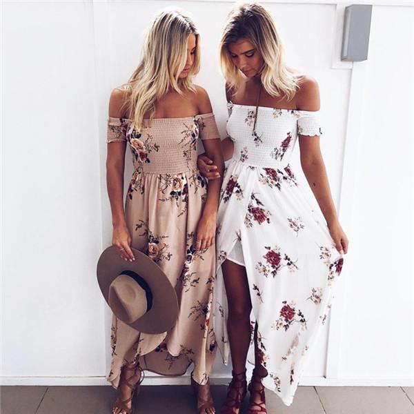 2017 Boho Style Long Dress Women Shoulder Beach Summer Dresses Floral Print Vintage Chiffon Maxi Dress Plus Size Vestidos